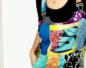 Patchwork dungarees jumpsuit overalls aztec funky festivals hippy boho, XS S/M L/XL XXL For All Ages All Sizes