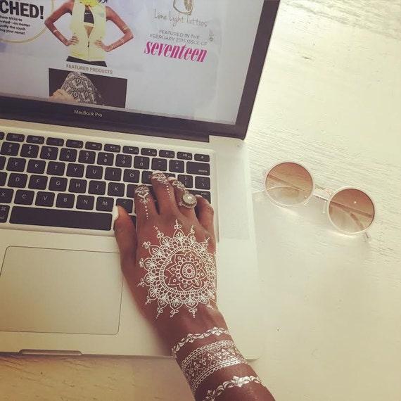 1 Sheet Of White Henna Tattoos, Henna Tattoos, White Lace Tattoos, White Tattoos, Bridal Tattoos, Wedding Tattoos, Abeena Tattoo by Etsy