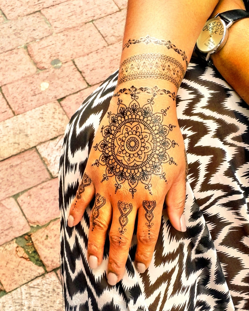 1 Sheet of Black Henna Tattoos, Henna Tattoos, Black Lace Tattoos, Black  Tattoos, Rihanna Inspired Tattoos