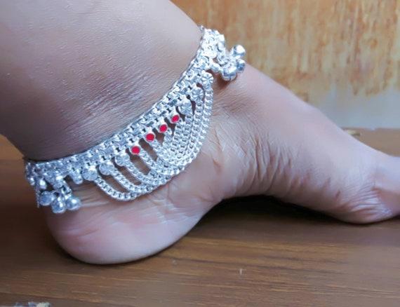 enorme inventario vasto assortimento prima qualità Catena cavigliere indiane, cavigliere d'argento, cavigliere d'argento,  braccialetto caviglia, anket campana d'argento, gioielli indiani