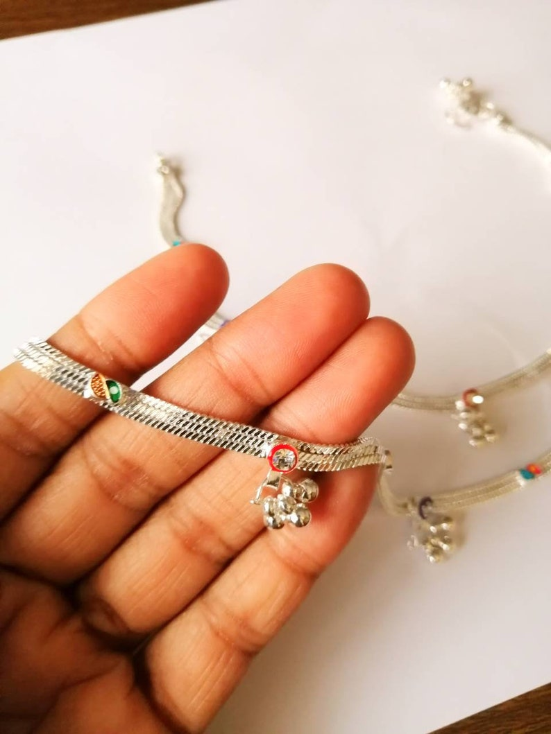 Indian jewelry Indian silver anklets Silver anklet silver bell anket silver ankle bracelet anklet bracelet
