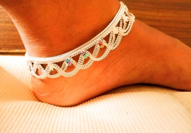 Vintage ankle bracelet. Indian pure silver anklet