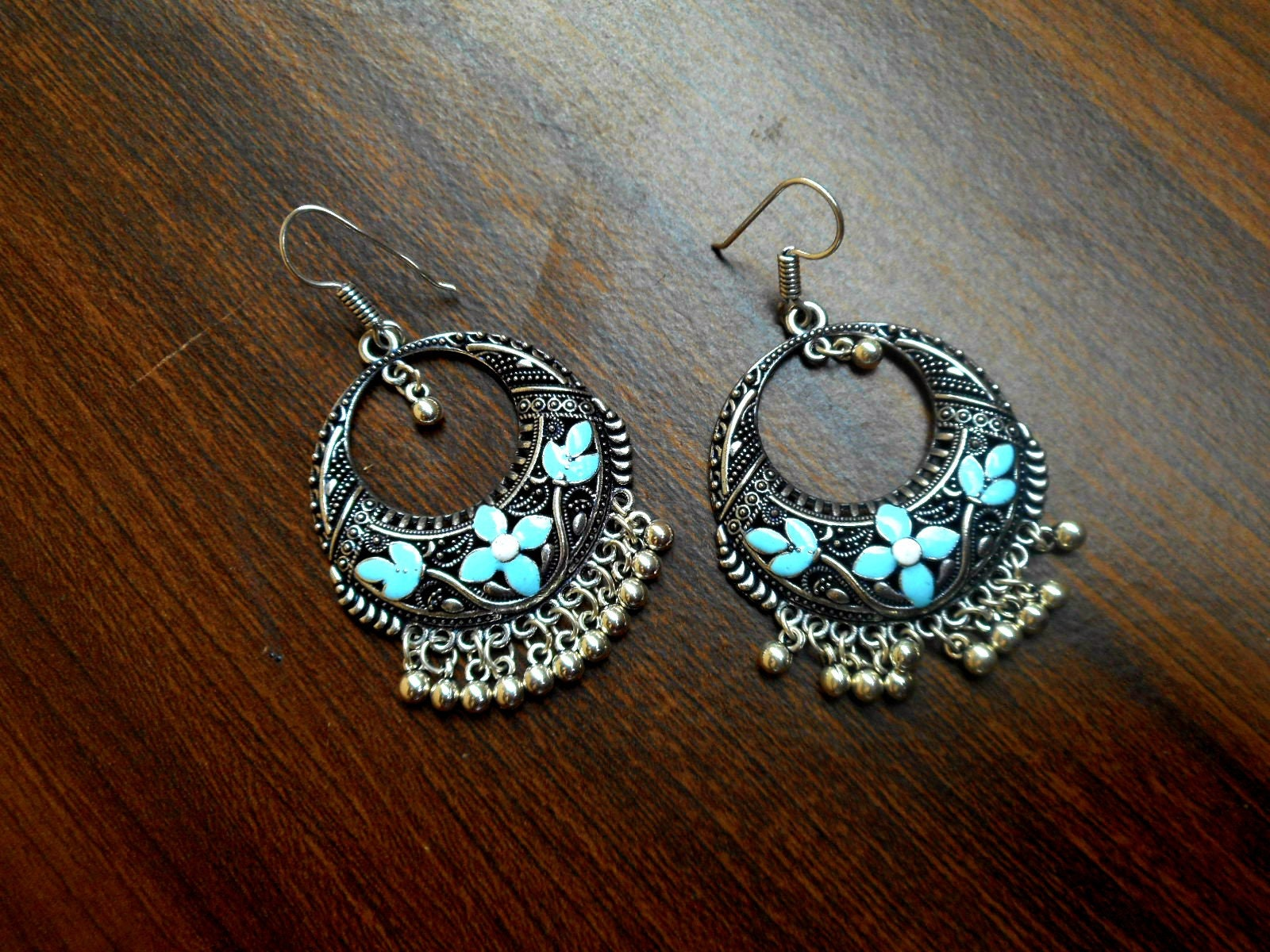 2082748be Chandbali earrings // Oxidized jewellery from India // Dangle | Etsy