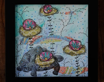 "Tank the Tortoise-Framed 6x6"" Mixed Media Collage Painting"