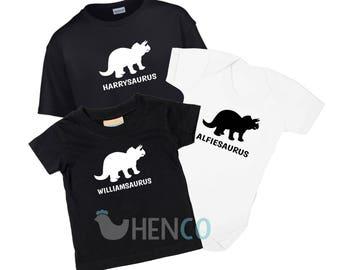 Personalised Dinosaur T-Shirt Personalised Dinosaur Babygrow Set Baby Clothing Kids Clothing Personalised T-Shirt Personalised Babygrow Dino