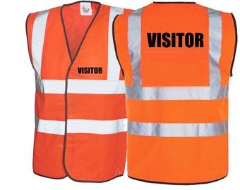 Visitor Hi Viz Vest Visitor Hi Visibility Clothing Safety Clothing Safety Vest Site Visitor Contractor Safety Building Site Safety Clothing