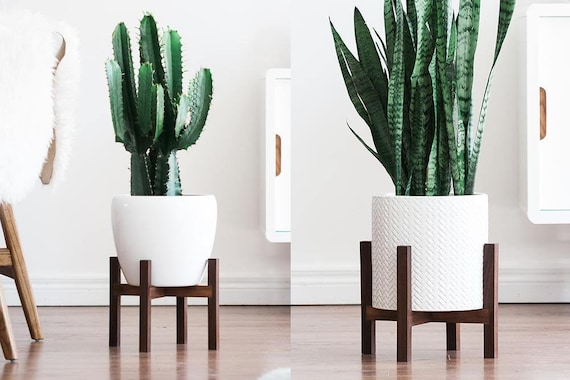Mid Century Modern Plant Stand With Square Legs Planter