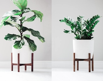 Mid Century Modern Plant Stand with Round Legs, Hand Made in Canada, Walnut Wood, Retro Home Decor