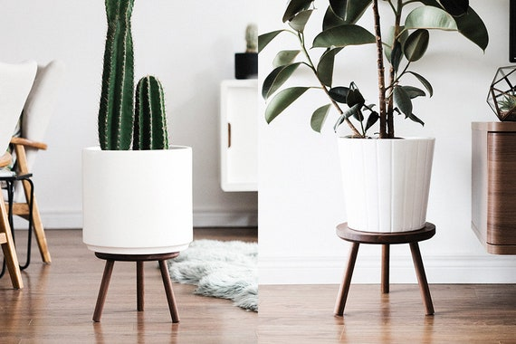 Mid Century Modern Plant Stand Stool With Round Top Hand Made Etsy