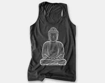 d922e7d3f8 Buddha Yoga Tank Top Racerback for Women Screen Print Tank - Spiritual Shirt  Buddhist Shirt