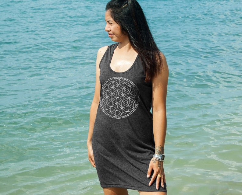 Women Tank Dress Flower of Life Mandala Yoga Design Screen Print Relaxed Soft and Comfy Summer Dress for Her