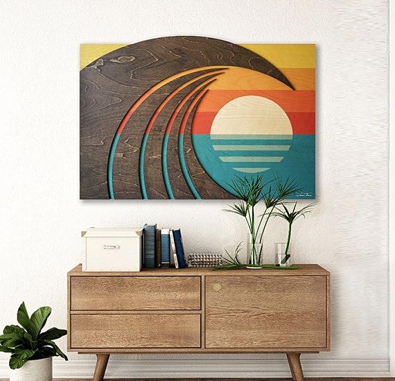 Coastal Inspired Sculpture   Wood wall Art   Waves & Sunset   HOKUA