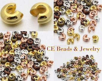 4mm Crimp Covers Mixed Colors Silver, Gold, Bronze, Copper Beads Beading Supplies/ Findings/ Crimp Covers/ Jewelry Making Supplies USA