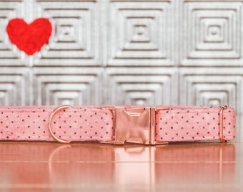 Rose Gold Dog Collar, Polka Dots, Vintage, Girly, Feminine, Boujee, Female Dog Collar, Pretty in Pink, Rose Gold Buckle
