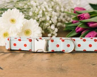 Polka Dot Dog Collar, Mint, Metallic, Mint and Red, Polka Dots, Unisex, Silver Metal Buckle