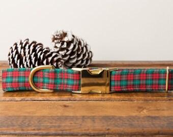 Christmas Dog Collar, Winter Dog Collar, Plaid Dog Collar, Red & Green, Plaid, Gold Metal Buckle