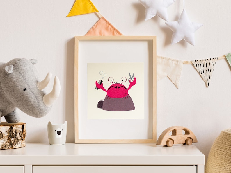 Print  Card  Pippin the chopping crab  15 x 15 cm  Wall image 0