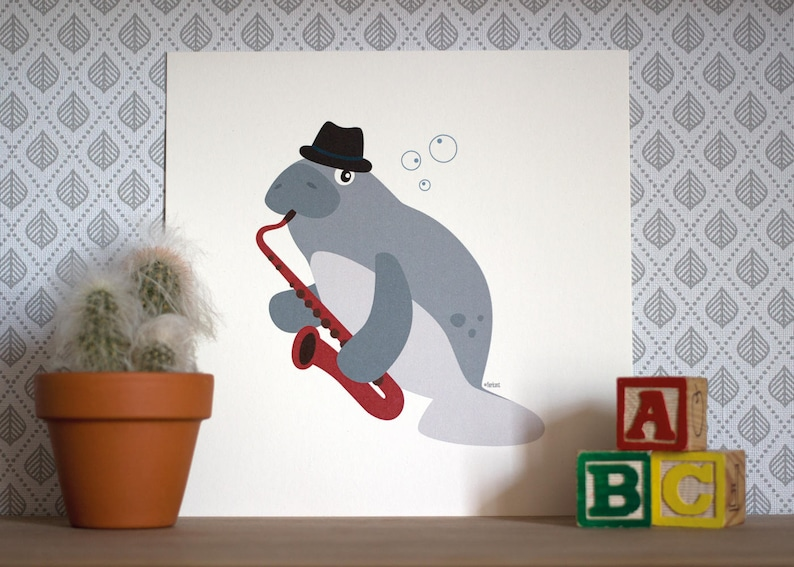 Print  Herb the saxophone-playing manatee  20 x 20 cm  Wall image 0