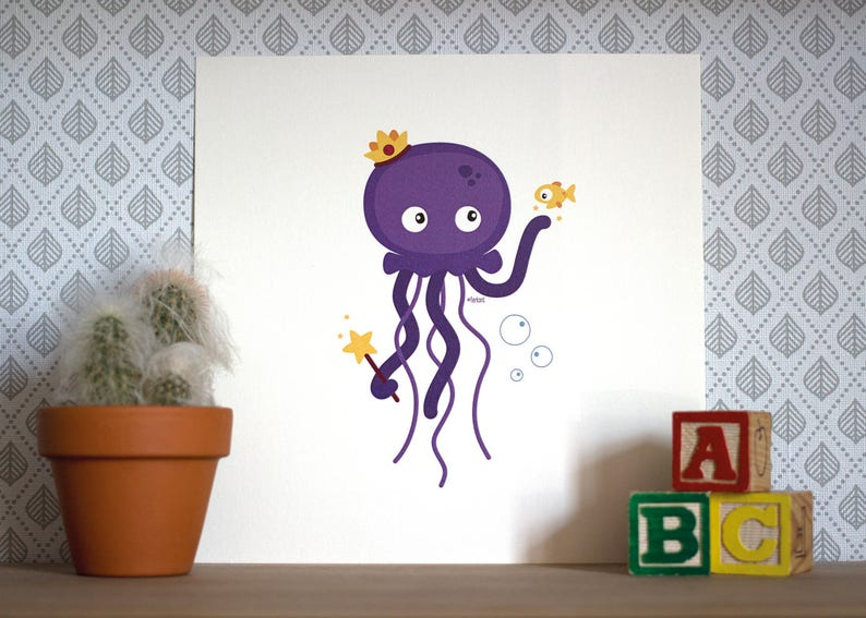 Print  Poppy the royal jellyfish  20 x 20 cm  Wall Art image 0