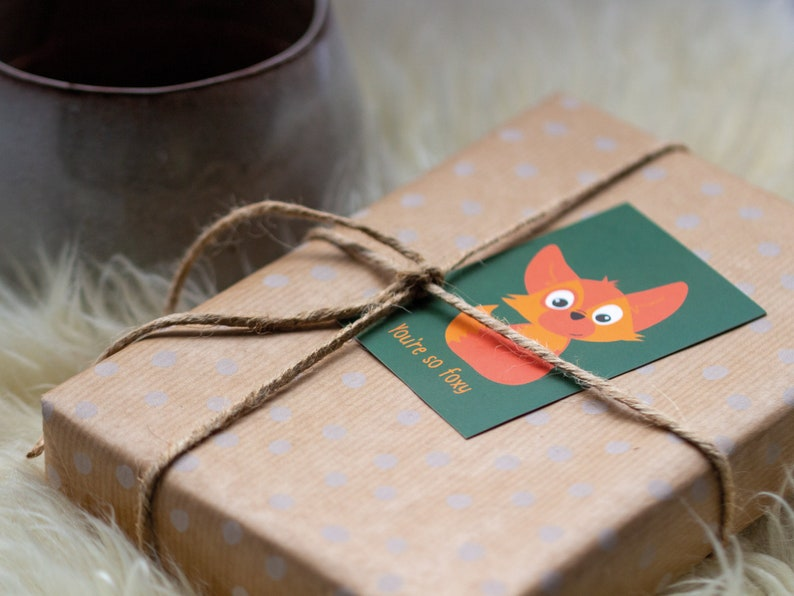 Small Gift Cards  Cute Fox  Set of 5  You're so foxy  image 0