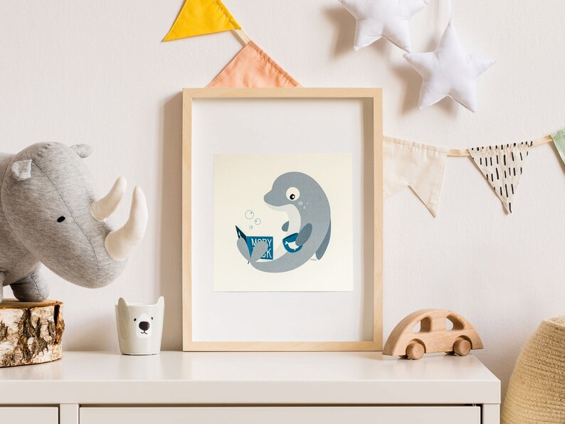 Print  Card  Mel the reading dolphin  15 x 15 cm  Wall Art image 0