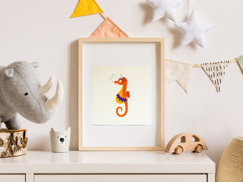 Print  Card  Lizzy the dreamy seahorse  15 x 15 cm  Wall image 0