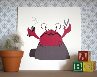 Pippin the chopping crab, Print 20x20cm