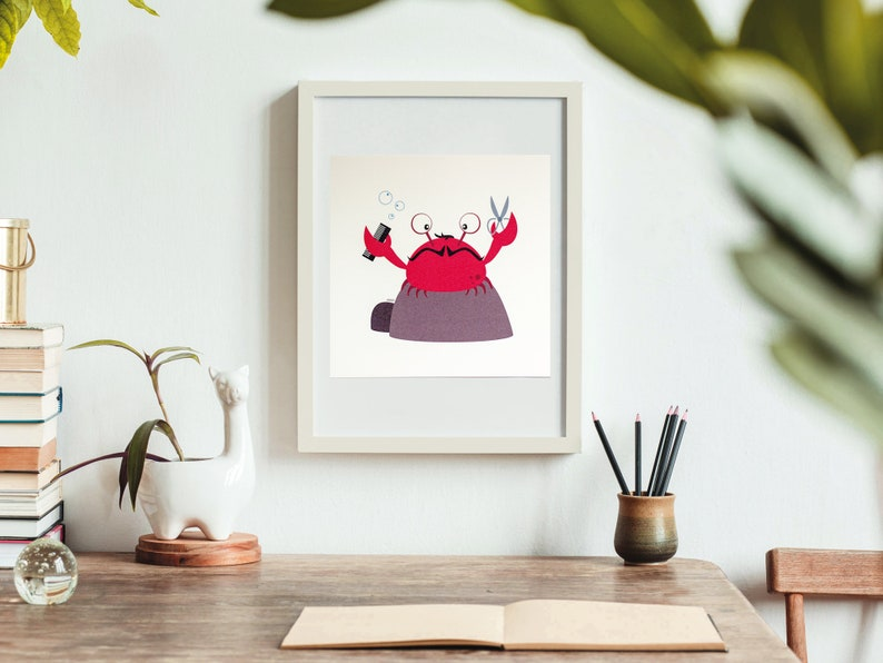 Print  Pippin the chopping crab  20 x 20 cm  Wall Art image 0