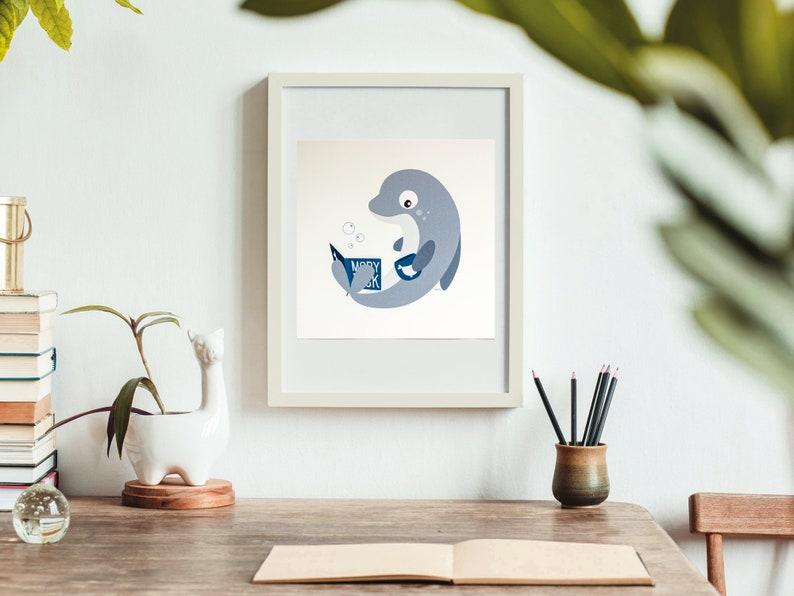 Print  Mel the reading dolphin  20 x 20 cm  Wall Art image 0