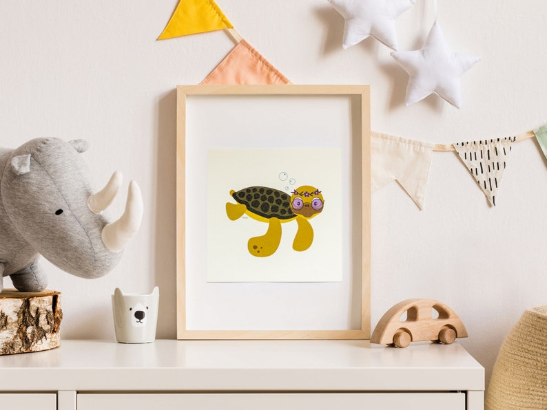 Print  Card  Hazel the hippie sea turtle  15 x 15 cm  Wall image 0