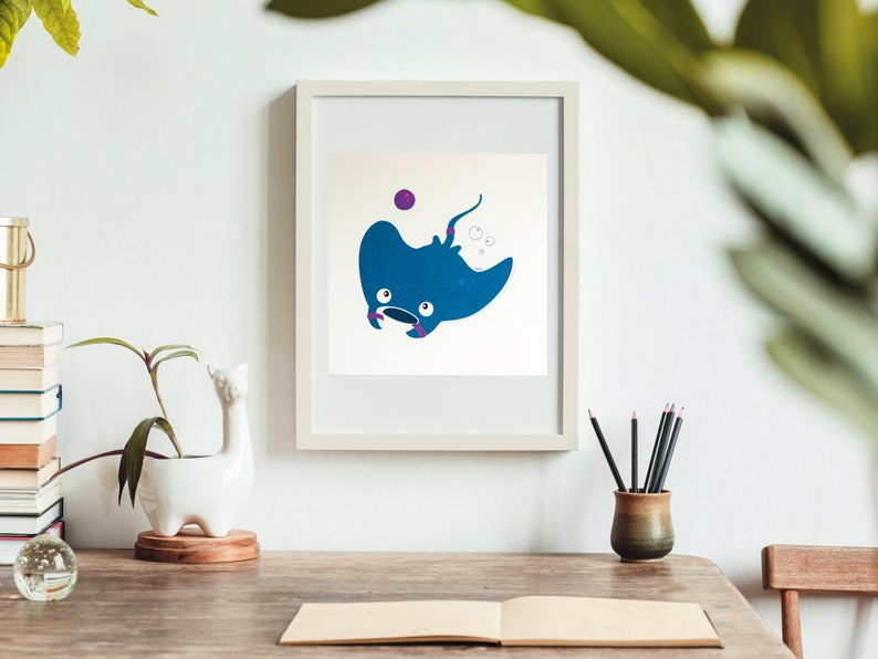 Print  Ray the sporty manta ray  20x20cm  Wall Art image 0