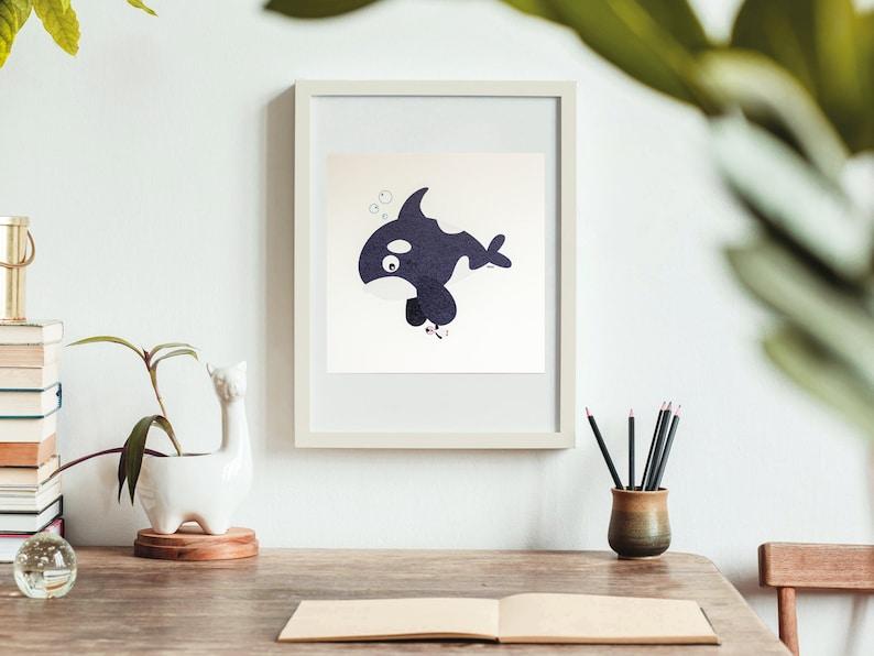 Print  Billy the vegetarian orca  20 x 20 cm  Wall Art image 0