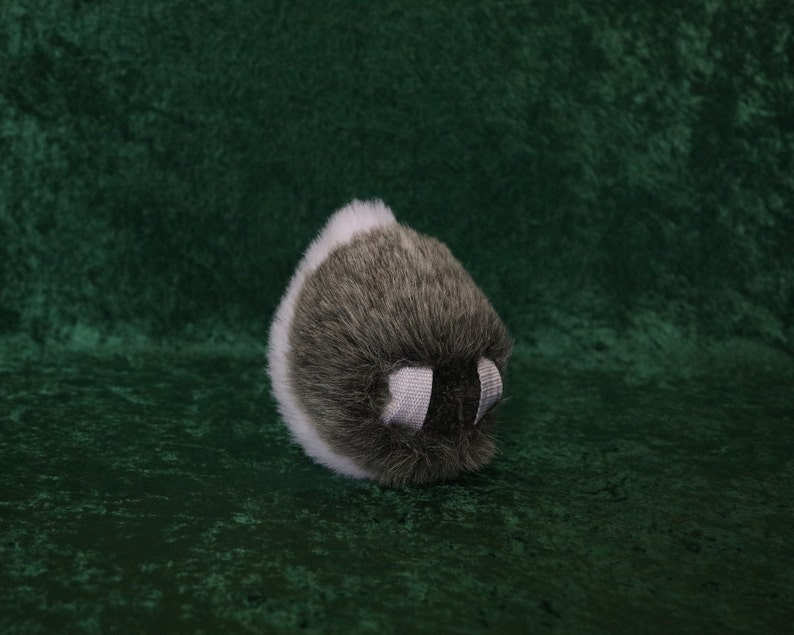 Large Faux Fur Bi-Color Up-Turned Rabbit Tail