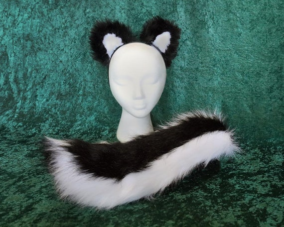 Childs Faux Fur Skunk Tail And Ear Set Etsy