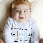 Half (1/2) Birthday Personalized Shirt for Baby Boy Tribal Arrow Theme in Gray, Gold, and Turquoise Blue, Smash Cake Six Months Photo Outfit