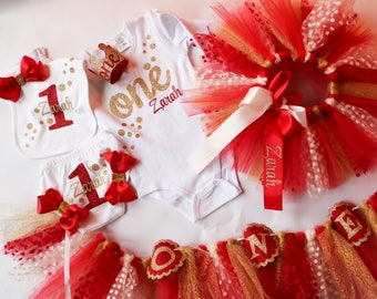 Valentine's First Birthday Baby Girl Outfit Birthday Decor Package in Red and Gold Polka Dot, Personalized