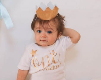Twinkle Little Star in Gold Metallic First Birthday Set Two Piece Set for Little Boy, Personalized, Matching Crown Party Hat