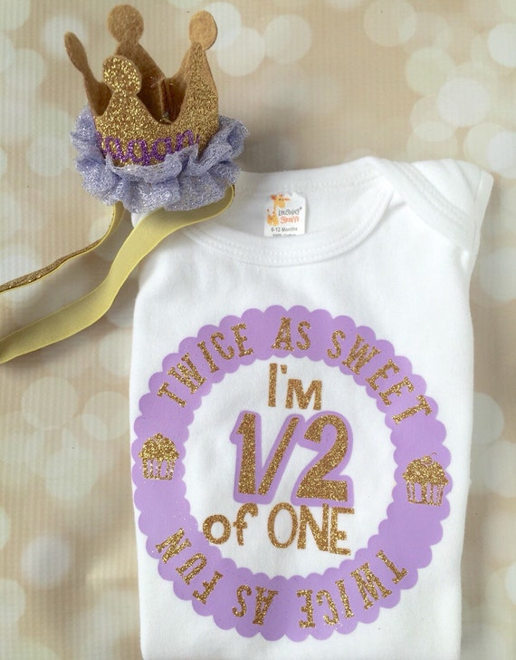 829ed64e4430 Half Birthday Outfit Set - Personalized Bodysuit - Princess Party - Baby  Girl - Purple and Gold - Glitter Set - Birthday Crown