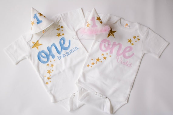 27fe95d66cdf4 Twin Birthday Outfit - Twin Birthday Boy and Girl -Matching Personalized -  Cake Smash Set - 1st Birthday Twin Match - Twinkle Little Star