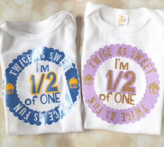 bc388d939 Twin Birthday Matching Shirt Set - Bodysuit Set - Twin Personalized Party  Outfit - Boy abs Girl Set - Half Birthday - First Birthday