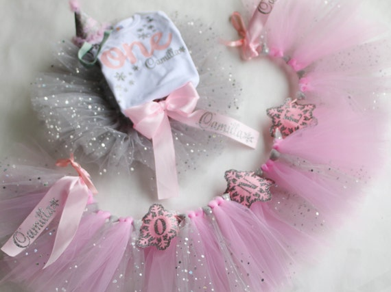 405b1022d28 Winter Onederland Outfit - Silver and Pink Tutu - Personalized Bodysuit