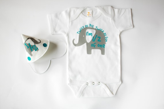 Half Birthday Outfit For Baby Boy Personalized Grey And Turquoise Elephant Theme Set Includes Hat Bodysuit 1 2 Photos