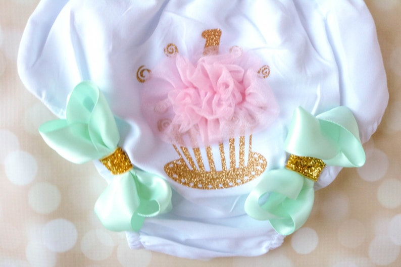Cupcake Bloomers Gold and Pink First Birthday Birthday Diaper Cover Bow and Tulle Bloomers