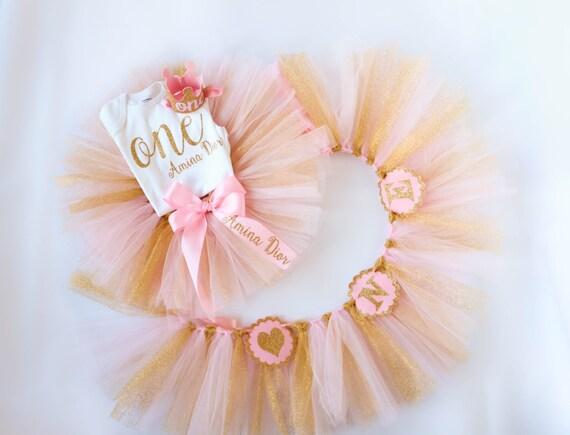 Pink Orange Princess Crown Baby Girl 1st First Birthday Tutu Outfit Shirt Set
