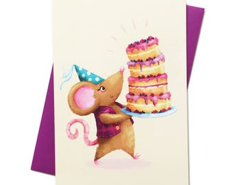 Mouse Baked a Cake - Illustrated - Happy Birthday Card