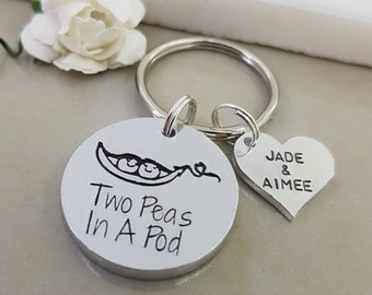 Pea Pod Keyring, Two Peas In A Pod, Peapod Key Chain, Twin Mummy Gift, Twin Mum Key Ring, Twin Daddy Keyring, Gift For Him, Dad Gift