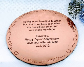 Copper Anniversary Gift, Gift for Husband, Gift for Wife, copper coffee coaster, gift for partner, 7th wedding anniversary, boyfriend gift