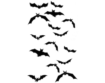 Flying Bats Temporary Tattoo Fake Bold Body Art Transfer Waterpoof Fancy Dress Vampire Bat Halloween