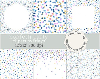 blue watercolor gold and pink polka dots clipart overlays 6 confetti transparent clipart overlays 6 digital papers big dots mini circles