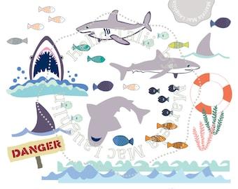SHARKS CLIP Art Shark Attack Digital Clipart Sharks Fish Danger Zone Sign Waves Borders Fins Sea Life Party Clip Birthday Invites Decor